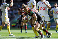 Owen Farrell of Saracens scores a try during the Heineken Cup semi-final match between Saracens and ASM Clermont Auvergne at Twickenham Stadium on Saturday 26th April 2014 (Photo by Rob Munro)