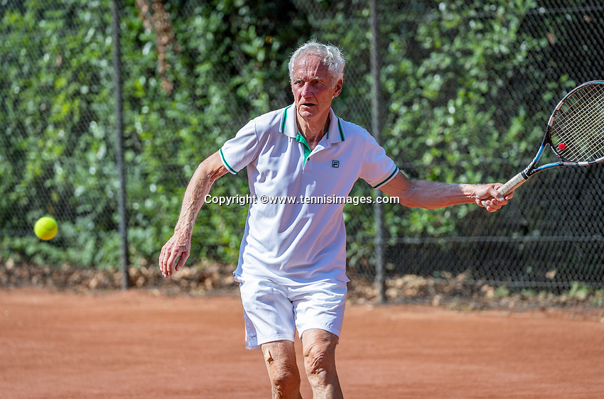 Hilversum, The Netherlands,  August 18, 2020,  Tulip Tennis Center, NKS, National Senior Championships, Men's single 80+ ,  Peter Korver (NED) <br /> Photo: www.tennisimages.com/Henk Koster