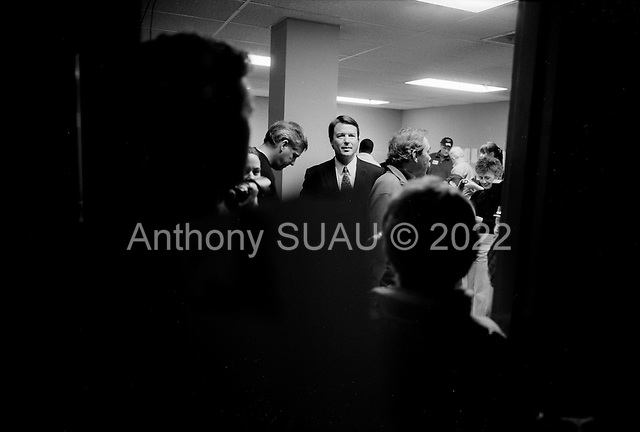 Manchester, New Hampshire.January 8, 2008.USA..Democratic Presidential hopeful John Edwards stops at his election office the day of the elections.