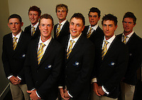 The Australian men's team, back row: Aaron Wilkin, Daniel Beckman, Ryan Peake, Jordan Sherratt; front row: Cameron Smith, Kieran Pratt, Jake Higginbottom, Jason Scivener. Trans-Tasman NZ teams at Royal Wellington Golf Club, Wellington, New Zealand on Sunday, 28 March 2010. Photo: Dave Lintott / lintottphoto.co.nz