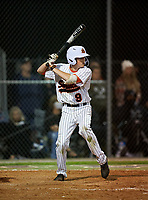 Sarasota Sailors Garrett Browning (9) bats during a game against the Riverview Rams on February 19, 2021 at Rams Baseball Complex in Sarasota, Florida. (Mike Janes/Four Seam Images)