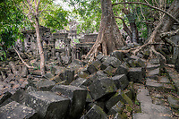 Cambodia, Beng Mealea Sanctuary Interior in Ruins, 12th. Century.