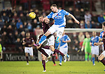 Hearts v St Johnstone…05.11.16  Tynecastle   SPFL<br />Chris Kane gets above Perry Kitchen<br />Picture by Graeme Hart.<br />Copyright Perthshire Picture Agency<br />Tel: 01738 623350  Mobile: 07990 594431