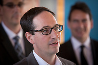Interim leader of the Parti Quebecois Stephane Bedard is pictured during the presentation of parti Quebecois candidates for the upcoming byelection Tuesday May 5, 2015.<br /> <br /> PHOTO :  Francis Vachon - Agence Quebec Presse