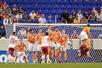 Juan Pablo Angel (9) of the New York Red Bulls takes a free kick that lead to the first goal. The New York Red Bulls defeated the Houston Dynamo 2-1 during a Major League Soccer (MLS) match at Red Bull Arena in Harrison, NJ, on June 2, 2010.