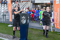 referee Irmgard Van Meirevenne taking the matchball before  a female soccer game between  AA Gent Ladies and RSC Anderlecht on the 17th matchday of the 2020 - 2021 season of Belgian Scooore Womens Super League , saturday 20 th of March 2021 in Oostakker , Belgium . PHOTO SPORTPIX.BE | SPP | STIJN AUDOOREN