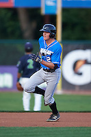 Hudson Valley Renegades shortstop Michael Russell (22) runs the bases after hitting a triple during a game against the Vermont Lake Monsters on September 3, 2015 at Centennial Field in Burlington, Vermont.  Vermont defeated Hudson Valley 4-1.  (Mike Janes/Four Seam Images)
