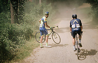 Andrew Fenn (GBR/Aquablue) eating dust while passing Ludwig De Winter (BEL/WB Aqua Protect-Veranclassic) who's having a mechanical<br /> <br /> 3rd Dwars Door Het hageland 2018 (BEL)<br /> 1 day race:  Aarschot > Diest: 198km