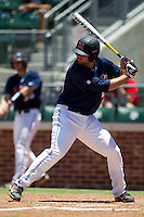 Designated Hitter Sikes Orvis #24 of the Ole Miss Rebels at bat during the NCAA Regional baseball game against the Texas Christian University Horned Frogs on June 1, 2012 at Blue Bell Park in College Station, Texas. Ole Miss defeated TCU 6-2. (Andrew Woolley/Four Seam Images).
