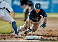 12 June 2021: Westfield Starfires outfielder Christian Beal, from Flossmorr, IL, dives safely back to first on a pickoff attempt by the Vermont Lake Monsters at Centennial Field in Burlington, Vermont. The Lake Monsters defeated the Starfires 4-1 at Centennial Field, in Burlington, Vermont. Mandatory Credit: Ed Wolfstein Photo *** RAW (NEF) Image File Available ***