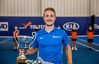 Amstelveen, Netherlands, 20  December, 2020, National Tennis Center, NTC, NK Indoor, National  Indoor Tennis Championships, Men's  Single Winner   Jelle Sels (NED)<br /> with  his trophy,<br /> Photo: Henk Koster/tennisimages.com