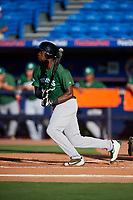 Daytona Tortugas right fielder Michael Beltre (33) follows through on a swing during a game against the St. Lucie Mets on August 3, 2018 at First Data Field in Port St. Lucie, Florida.  Daytona defeated St. Lucie 3-2.  (Mike Janes/Four Seam Images)