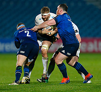 19th March 2021; RDS Arena, Dublin, Leinster, Ireland; Guinness Pro 14 Rugby, Leinster versus Ospreys; Will Griffiths of Ospreys is tackled by Seán Cronin and Peter Dooley of Leinster