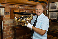 BNPS.co.uk (01202 558833)<br /> Pic: EdBaker/BNPS<br /> <br /> Pictured: Antique dealer Charles Wallrock with the silver bowl.<br /> <br /> A magnificent silver gilt bowl gifted by King William IV to the Royal Yacht Squadron to be used as a prize for the world-famous Cowes Regatta<br /> has been discovered 186 years later.<br /> <br /> The trophy, known as the King's Cup, was presented to sailor John Barry-Smith who won the annual race in 1835.<br /> <br /> The Irish mariner took the bowl home with him and it graced his mantlepiece of his grand home in Cork for years.
