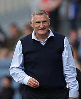 11th September 2021; Ewood Park, Blackburn, Lancashire England; EFL Championship football, Blackburn Rovers versus Luton Town; Blackburn Rovers manager Tony Mowbray  smiles