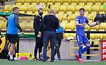 16.08.2020 Livingston v Rangers: Livingston manager Gary Holt tells Rangers player Borna Barisic hard lines on his free-kick attempt