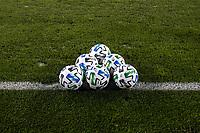 SAN JOSE, CA - OCTOBER 07: MLS Ball during a game between Vancouver Whitecaps and San Jose Earthquakes at Eathquakes Stadium on October 07, 2020 in San Jose, California.