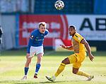 20.02.2021, xtgx, Fussball 3. Liga, FC Hansa Rostock - SV Waldhof Mannheim, v.l. Nik Omladic (Hansa Rostock, 21), Anton Donkor (Mannheim, 19) <br /> <br /> (DFL/DFB REGULATIONS PROHIBIT ANY USE OF PHOTOGRAPHS as IMAGE SEQUENCES and/or QUASI-VIDEO)<br /> <br /> Foto © PIX-Sportfotos *** Foto ist honorarpflichtig! *** Auf Anfrage in hoeherer Qualitaet/Aufloesung. Belegexemplar erbeten. Veroeffentlichung ausschliesslich fuer journalistisch-publizistische Zwecke. For editorial use only.