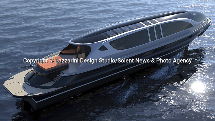 Pictured: Exterior view of the Xenos <br /> <br /> The world's first £52 million hyper yacht concept has been created - and it comes with a free £4 million Bugatti Chiron supercar.  The Xenos will have 15,000 horsepower, and be able to hit a top speed of more than 100mph, according to its creators at Lazzarini Design Studio.<br /> <br /> The 130ft-long Xenos would be made of aluminium and carbon and is said to be 'designed for comfortable high speed cruises.'  The sleek, black and chrome yacht has auto tinting windows, as well as roof mounted solar panels, and will also be available as an electric powered model.  SEE OUR COPY FOR DETAILS.<br /> <br /> Please byline: Lazzarini Design Studio/Solent News<br /> <br /> © Lazzarini Design Studio/Solent News & Photo Agency<br /> UK +44 (0) 2380 458800
