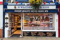 UK, England, Pateley Bridge, Yorkshire. Butcher shop.