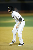 Wyatt Beddow (7) of the Wake Forest Demon Deacons takes his lead off of first base against the Sacred Heart Pioneers at David F. Couch Ballpark on February 15, 2019 in  Winston-Salem, North Carolina.  The Demon Deacons defeated the Pioneers 14-1. (Brian Westerholt/Four Seam Images)
