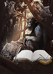Illustrative image of gorilla with book and ink bottle in forest