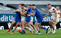 Saturday 12th September 2020 | PRO14 Final - Leinster vs Ulster<br /> <br /> Stuart McCloskey is tackled by Robbie Henshaw and Ross Byrne during the Guinness PRO14 Final between Leinster ands Ulster at the Aviva Stadium, Lansdowne Road, Dublin, Ireland. Photo by John Dickson / Dicksondigital