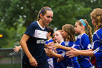 Sky Blue FC midfielder Katy Freels (Frierson) (17) greets fans before the game. Sky Blue FC and the Boston Breakers played to a 0-0 tie during a National Women's Soccer League (NWSL) match at Yurcak Field in Piscataway, NJ, on July 13, 2013.