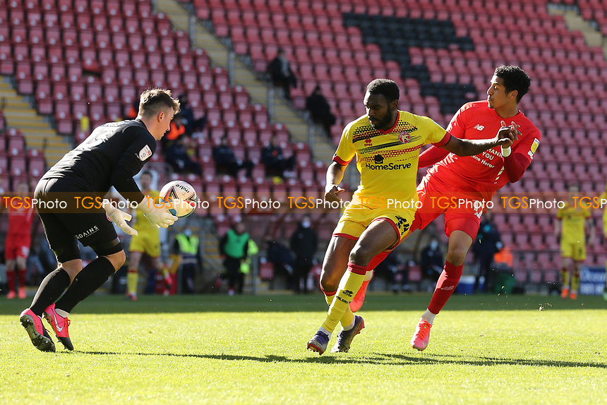 Jack Rose of Walsall denies Louis Dennis of Leyton Orient during Leyton Orient vs Walsall, Sky Bet EFL League 2 Football at The Breyer Group Stadium on 5th April 2021