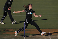 4th April 2021; Bay Oval, Taurange, New Zealand;  White Ferns Rosemary Mair bowls during the 1st women's ODI White Ferns versus Australia Rose Bowl cricket match at Bay Oval in Tauranga.
