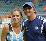 The Hague, Netherlands, June 14: Luciana Aymar #8 of Argentina and Head coach Carlos Retegui of Argentina pose after the field hockey bronze medal match (Women) between USA and Argentina on June 14, 2014 during the World Cup 2014 at Kyocera Stadium in The Hague, Netherlands. Final score 2-1 (2-1)  (Photo by Dirk Markgraf / www.265-images.com) *** Local caption ***