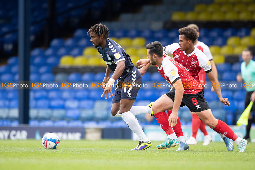Kasaiah Sterling, Southend United under pressure from Chris Clements, Cheltenham Town and Elliot Bonds, Cheltenham Town during Southend United vs Cheltenham Town, Sky Bet EFL League 2 Football at Roots Hall on 17th October 2020