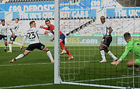 Huddersfield Town's Harry Toffolo scores his side's first goal  <br /> <br /> Photographer Ian Cook/CameraSport<br /> <br /> The EFL Sky Bet Championship - Swansea City v Huddersfield Town - Saturday 17th October 2020 - Liberty Stadium - Swansea<br /> <br /> World Copyright © 2020 CameraSport. All rights reserved. 43 Linden Ave. Countesthorpe. Leicester. England. LE8 5PG - Tel: +44 (0) 116 277 4147 - admin@camerasport.com - www.camerasport.com
