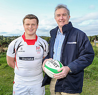 Ulster Schools U18 | Saturday 5th September 2015<br /> <br /> Ulster Schools U18 Squad 2015-2016<br /> Lurgan College player Harry Simpson with Danske Bank representative Mark Beattie at a recent training session at Newforge Country Club in Belfast. Photo : John Dickson - DICKSONDIGITAL