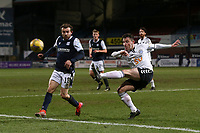 16th March 2021; Dens Park, Dundee, Scotland; Scottish Championship Football, Dundee FC versus Ayr United; Patrick Reading of Ayr United clears from Paul McMullan of Dundee