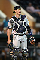 Tampa Yankees catcher Peter O'Brien (24) during a game against the Lakeland Flying Tigers on April 3, 2014 at Joker Marchant Stadium in Lakeland, Florida.  Tampa defeated Lakeland 4-0.  (Mike Janes/Four Seam Images)