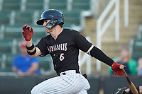 Romy Gonzalez (6) of the Kannapolis Intimidators follows through on his swing against the Hickory Crawdads at Kannapolis Intimidators Stadium on May 6, 2019 in Kannapolis, North Carolina. The Crawdads defeated the Intimidators 2-1 in game one of a double-header. (Brian Westerholt/Four Seam Images)