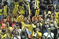 BOGOTÁ-COLOMBIA, 07-01-2020: Hinchas de Colombia, animan a su equipo antes de partido entre Venezuela y Colombia en el Preolímpico Suramericano de Voleibol, clasificatorio a los Juegos Olímpicos Tokio 2020, jugado en el Coliseo del Salitre en la ciudad de Bogotá del 7 al 9 de enero de 2020. / Fans from Colombia, cheer for their team prior a match between Venezuela and Colombia, in the South American Volleyball Pre-Olympic Championship, qualifier for the Tokyo 2020 Olympic Games, played in the Colosseum El Salitre in Bogota city, from January 7 to 9, 2020. Photo: VizzorImage / Luis Ramírez / Staff.