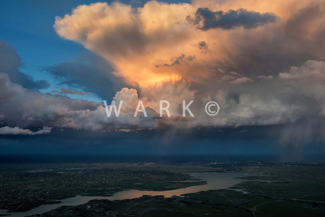 Sunset and storm clouds over Lake Pueblo, Colorado.  May 28, 2015