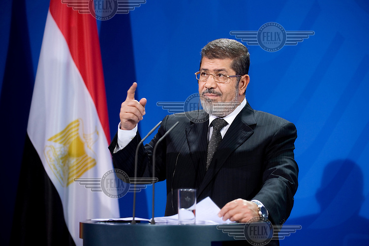 DEU, Deutschland, Germany, Berlin, 30.01.2013.Egyptian President Mohamed Mursi during a press conference at the Chancellery in Berlin, Germany. Mursi has come to Berlin despite the ongoing violent protests in recent days in cities across Egypt. Mursi is in Berlin to seek both political and financial support from Germany. International Politics, Germany, Europe, Politican, 2013..