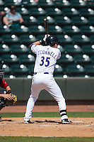Sean O'Connell (35) of the Winston-Salem Dash at bat against the Carolina Mudcats at BB&T Ballpark on April 22, 2015 in Winston-Salem, North Carolina.  The Dash defeated the Mudcats 4-2..  (Brian Westerholt/Four Seam Images)