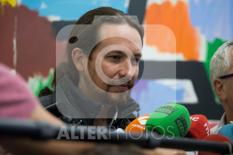General Secretary of Podemos, Pablo Iglesias after the meeting with General Secretary of CCOO , Ignacio Fernandez Toxo in Madrid. November 16, Spain. 2016. (ALTERPHOTOS/BorjaB.Hojas)
