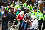© Joel Goodman - 07973 332324 - all rights reserved . 30/08/2010 . Brighton , UK . Antifascists attempt to block the route of the March for England march . Nationalist group , March for England , hold a march in Brighton , opposed by antifascists . Photo credit : Joel Goodman