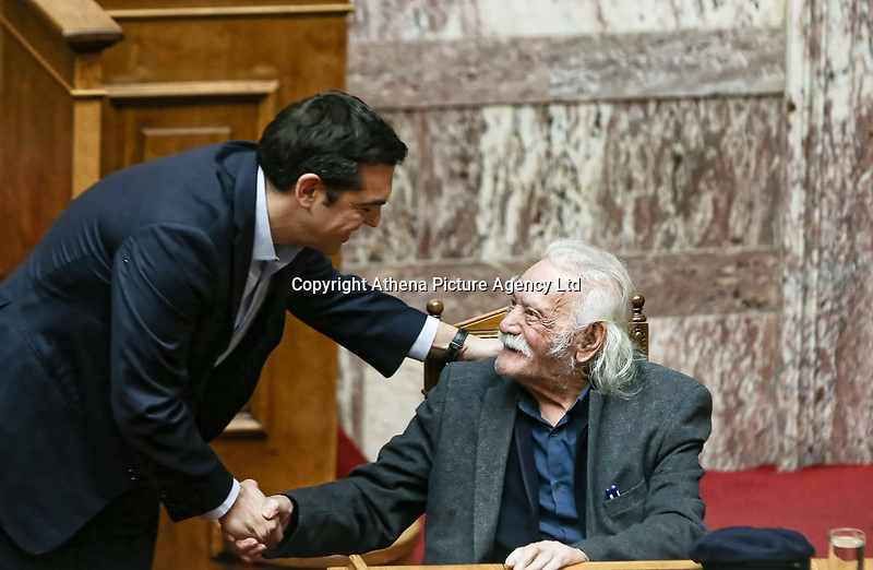 Pictured: Manolis Glezos with Alexis Tsipras (L). STOCK PICTURE<br /> Re: Manolis Glezos, who took down a flag with a swastika from the Acropolis 30th of May 1941.