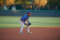 AZL Rangers third baseman Derwin Barreto (8) during an Arizona League game against the AZL Dodgers Mota at Camelback Ranch on June 18, 2019 in Glendale, Arizona. AZL Dodgers Mota defeated AZL Rangers 13-4. (Zachary Lucy/Four Seam Images)