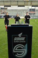 referee Lois Otte (M) with assistanr referee Caroline Lanssens (L) and Elle De Vries (R) pictured during the warming up of a female soccer game between Eendracht Aalst and SV Zulte Waregem on the seventh matchday of the 2020 - 2021 season of Belgian Scooore Womens Super League , Saturday 14 th of November 2020  in Aalst , Belgium . PHOTO SPORTPIX.BE | SPP | DIRK VUYLSTEKE