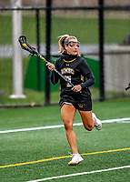 17 April 2021: UMBC Retriever Attacker Lily Kennedy, a Senior from Marriottsville, MD, in action against the University of Vermont Catamounts at Virtue Field in Burlington, Vermont. The Catamounts fell to the Retrievers 11-8 in the America East Women's Lacrosse matchup. Mandatory Credit: Ed Wolfstein Photo *** RAW (NEF) Image File Available ***