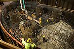 Construction on Trimet's Portland-Milwaukie Light Rail Bridge.