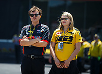 Jun 18, 2017; Bristol, TN, USA; NHRA top fuel driver Troy Coughlin Jr and finance XXXX during the Thunder Valley Nationals at Bristol Dragway. Mandatory Credit: Mark J. Rebilas-USA TODAY Sports