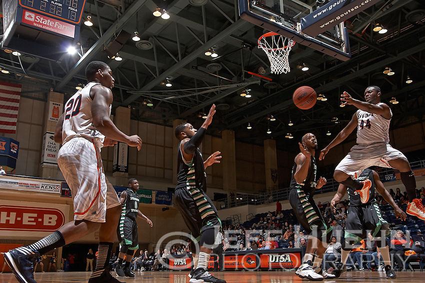 SAN ANTONIO, TX - FEBRUARY 27, 2014: The University of North Texas Mean Green versus the University of Texas at San Antonio Roadrunners Men's Basketball at the UTSA Convocation Center. (Photo by Jeff Huehn)